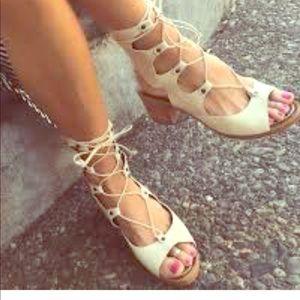 Free People Lace up heeled sandal